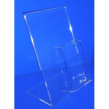 Expositor para folletos caja 110mm ancho x 30 mm con cartel A4 PLV