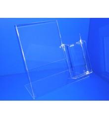 Expositor para folletos caja 110mm ancho x 30mm con cartel A4 PLV