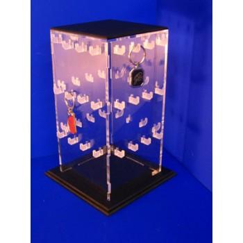 Expositor en prisma con ganchos para 48 llaveros sueltos