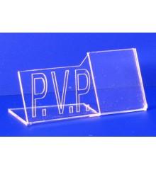 Expositor porta precios con P.V.P.  PLV