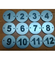 Placa doble para numeracion guardarropa