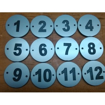 Placa doble para numeracion guardarropa